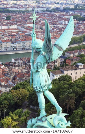 Famous view of Lyon from Notre Dame de Fourviere - stock photo