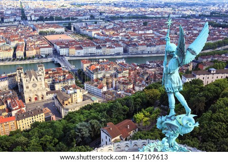 Famous view of Lyon from the top of Notre Dame de Fourviere - stock photo