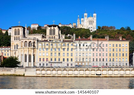 Famous view of Lyon over the Saone river - stock photo
