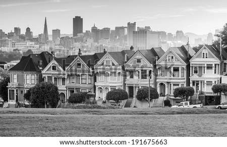 Famous view of San Francisco at Alamo Square CA, USA in black and white - stock photo