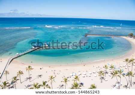 Famous Waikiki Beach on the Hawaiian island of Oahu. - stock photo