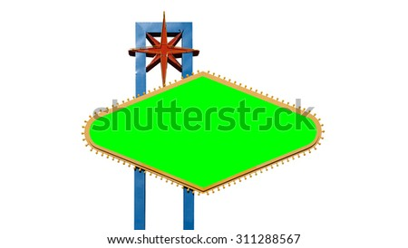 Famous Welcome to Las Vegas sign isolated on white with green chroma key.  File size match for 4k video.   - stock photo