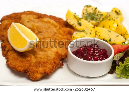 Famous Wiener Schnitzel with side dish in Austrian restaurant - stock photo
