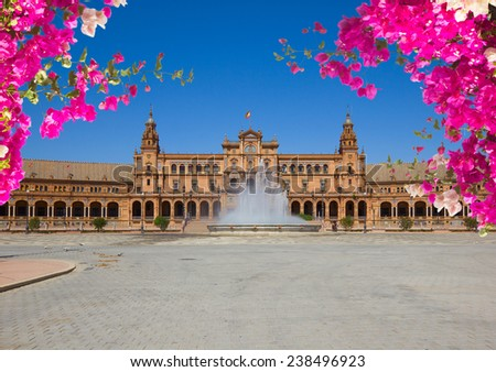Famouse square of Spain in Seville at summer, Andalusia, Spain - stock photo
