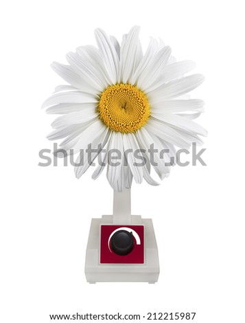 Fan air blower Daisy on white background. - stock photo