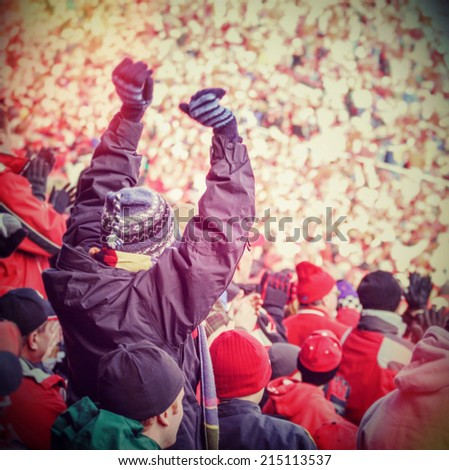 Fan celebrating in the stands at an american football game. Instagram effect - stock photo