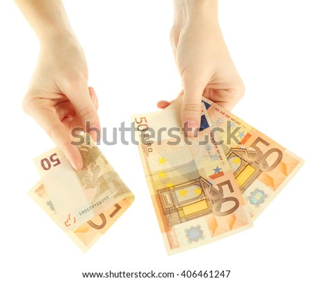 Fan of money in female hands isolated on white - stock photo
