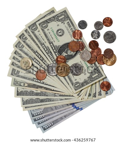 Fan-shaped banknotes and coins, dollars - stock photo