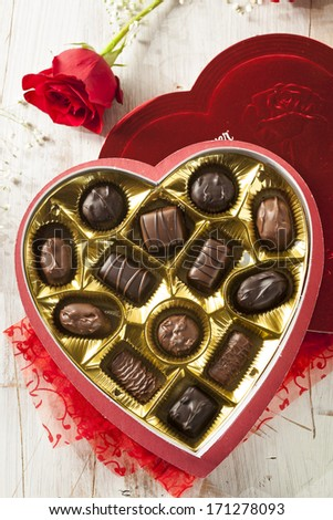 Fancy Box of Gourmet Chocolates for Valentine's Day - stock photo
