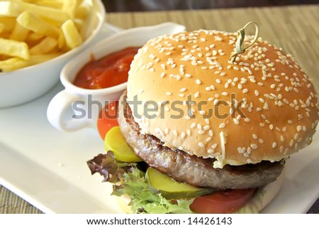 Fancy cheeseburger with french fries served in restaurant - stock photo