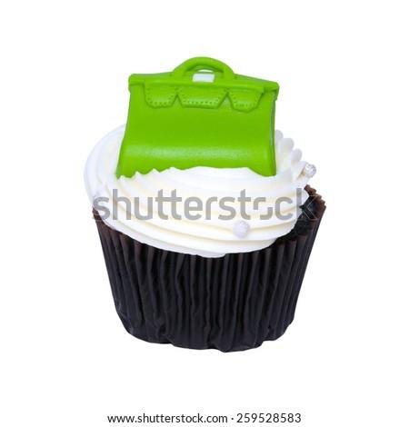 Fancy Chocolate cupcake cream white and Green Bag. - stock photo