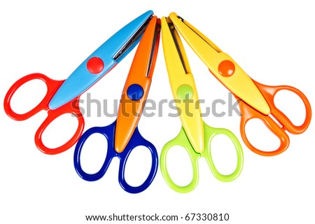 fancy colourful scissors on the white background - stock photo