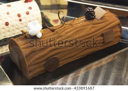 fancy dessert, chocolate brownie and ice cream  - stock photo