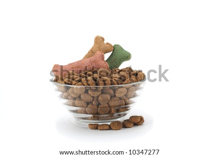 Fancy dog dish with food garnished with bone shaped treats - stock photo