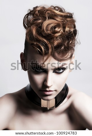 Fancy Dress Party - Fashion Festive Woman face. Bright Hairstyle - Poster. Looks like a Punk - Creativity - stock photo