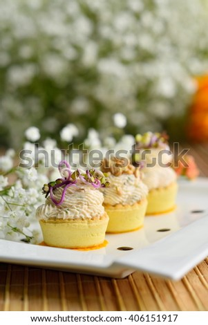 fancy food arrangement with healthy roe salad and wheat germs - stock photo