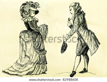 fancy man and woman 18 century. part 1 - stock photo