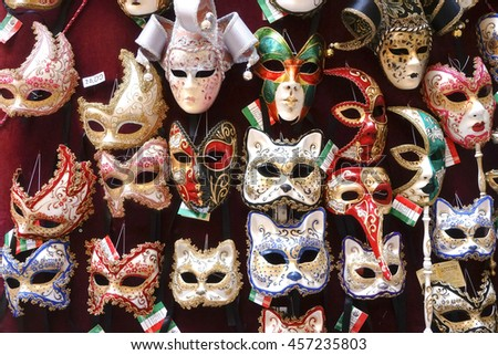 Fancy Masks, Italian Fancy Masks on display - stock photo