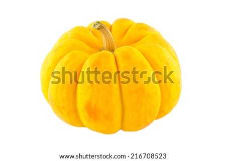 Fancy pumpkin isolated on white background. - stock photo
