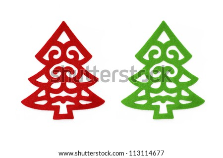 Fancy red and green felt Christmas tree isolated on a white background - stock photo