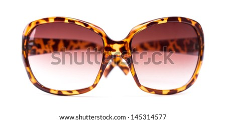 Fancy sunglasses with leopard skin texture isolated on white. - stock photo