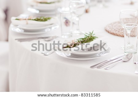 Fancy table set for a wedding dinner - stock photo