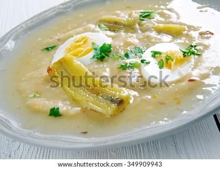 Fanesca soup - traditionally prepared and eaten in Ecuador - stock photo