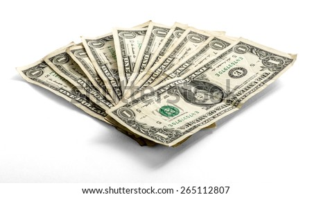 Fanned used one US dollar bills lying on a white background in a financial and money concept, low angle view - stock photo