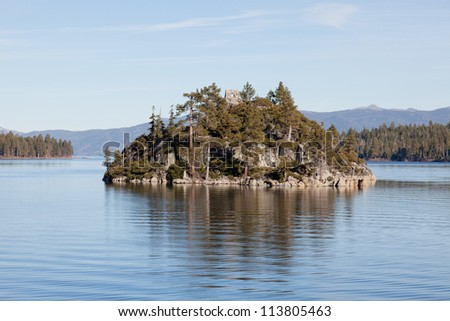 Fannette Island is the only island in Lake Tahoe, California/Nevada, United States. It lies within Emerald Bay. - stock photo