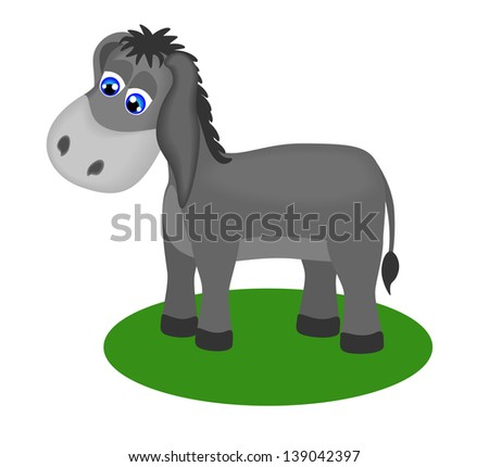 Fanny drawing of sad donkey. raster version, vector file also included - stock photo