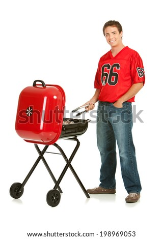 Fans: Football Team Fan Grills With Portable BBQ - stock photo