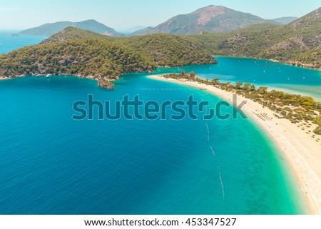 Fantastic Aerial view of the beach Belcek?z and Blue Lagoon  in Oludeniz Resort, Turkey - stock photo