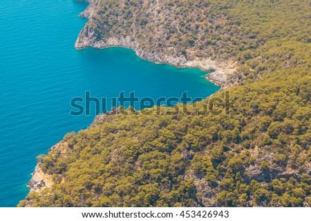 Fantastic Aerial view of the beach Belcekiz and Blue Lagoon  in Oludeniz Resort, Turkey - stock photo