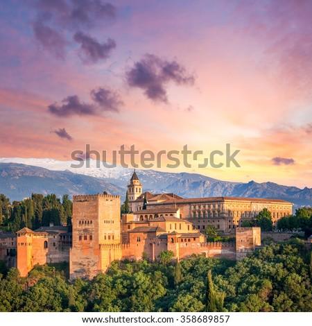 Fantastic Ancient Alhambra at thel evening time, Granada, Spain, European travel landmark - stock photo