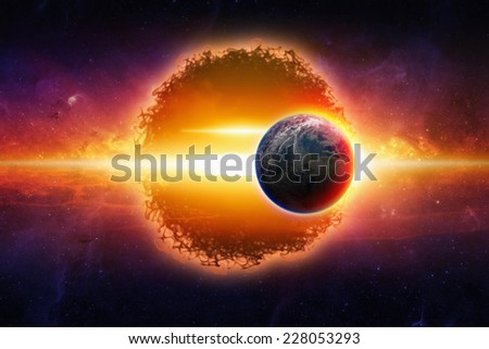 Fantastic background - aliens planet approaching planet Earth in space, war of worlds, star wars. Elements of this image furnished by NASA - stock photo