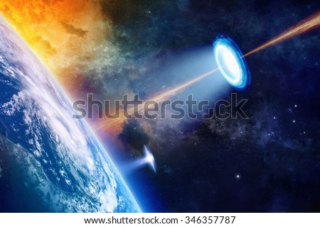 Fantastic background - UFO shines spotlight on planet Earth, secret experiment, climate change, climatic weapon, star wars. Elements of this image furnished by NASA nasa.gov - stock photo