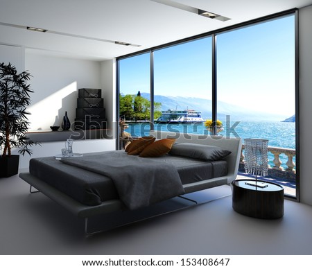 Fantastic bedroom interior with grey bed with bedsheets against huge window with panoramic view - stock photo