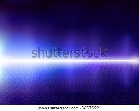 Fantastic blue computer background with hexagonal mesh - stock photo
