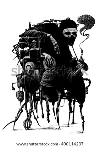 Fantastic characters, black and white illustration - stock photo