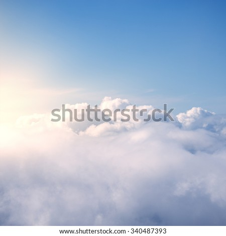 Fantastic cloudscape and sun at sunset time. - stock photo