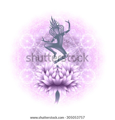 fantastic creature, elf or a deity, dancing on a flower, circular pattern, flower of life, ,illustration - stock photo