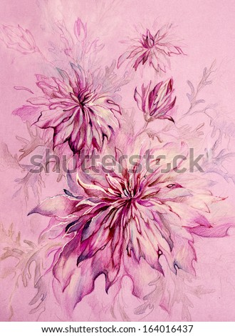 Fantastic delicate pink and purple chrysanthemums - stock photo