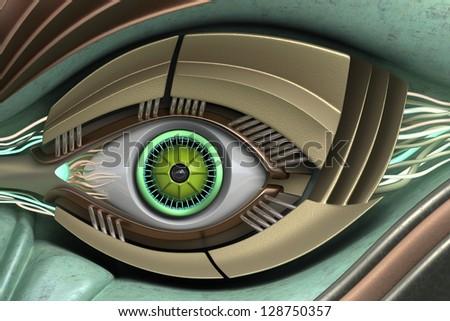Fantastic eye of the robot. - stock photo