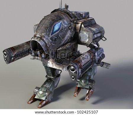 Fantastic futuristic  robot isolated on grey - stock photo