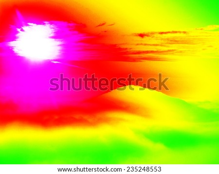 Fantastic infrared scan of rocky  landscape, pine forest with colorful fog, hot sunny sky above. Grunge background in amazing thermography colors. - stock photo