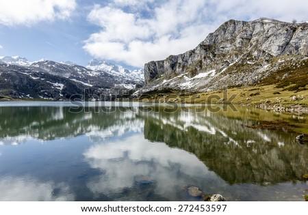 Fantastic lake Ercina, one of the famous lakes of Covadonga, Asturias , Spain  - stock photo