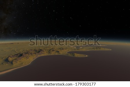 Fantastic landscape in deep space - stock photo