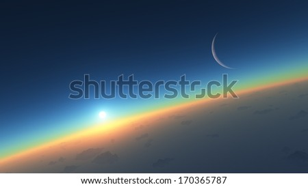 Fantastic landscape of sunrise over the planet - stock photo