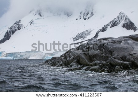 Fantastic landscapes of beautiful snow-capped mountains, Antarctica - stock photo