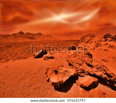 Fantastic martian landscape in rusty orange shades - stock photo
